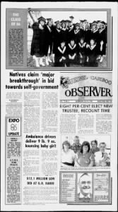 Sample Quesnel Cariboo Observer front page