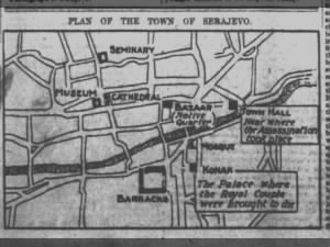 Map of Sarajevo, Bosnia, showing key locations in the assassination Archduke Franz Ferdinand
