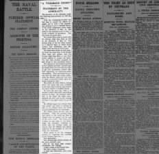 Announcement by the British Secretary of the Admiralty about the Battle of Jutland