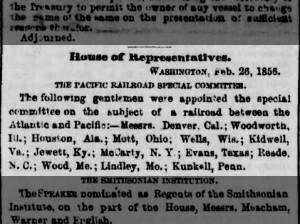 Members of House of Representatives appointed to committee on transcontinental railroad, 1856
