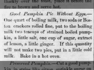 Eggless pumpkin pie recipe from 1857 with lemon and ginger
