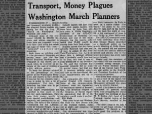 Money and transport problems cause issues for leaders ahead of the  Aug. 28th March on Washington