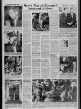 Images from 1961 JFK inauguration as well as text of inaugural address with famous quote