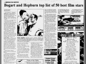 Humphrey Bogart tops American Film Institute's list of male screen legends in 1999