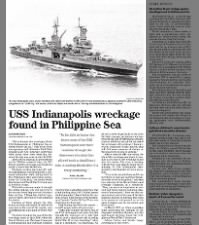 USS Indianapolis wreckage discovered in 2017 by 13-person research team led by Paul Allen
