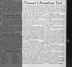 Text of President Harry Truman's V-E Day speech on May 8, 1945