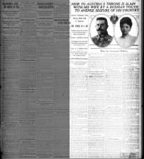 New York Times headlines about the shooting of Franz (Francis) Ferdinand and his wife in Sarajevo