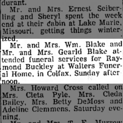 Raymond Buckley death - Mr. and Mrs. Wm. Blake and Mr. 'and Mrs. Gearld...