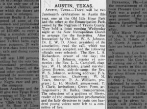 Meeting held to arrange two upcoming Juneteenth celebrations in Austin, TX, 1914