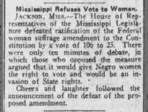Article says enfranchisement of Black women is one reason Mississippi rejected 19th Amendment