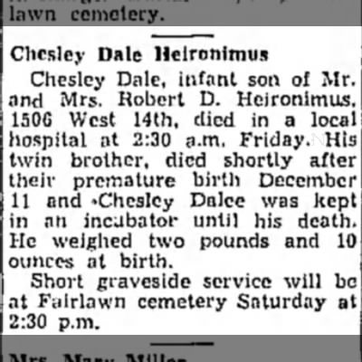 Chesley Dale Heironimus Death Announcement - Chcslcy Dale Heironimus Chesley Dale, infant...