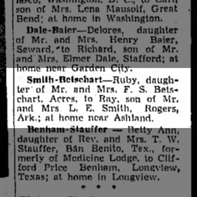 Smith-Betschart Marriage Announcement - Smlth-Bctschart —Ruby, daughter daughter of Mr....