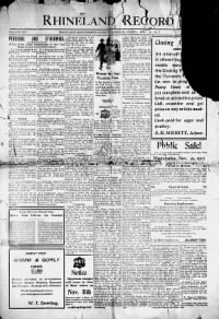 Sample Rhineland Record front page