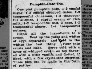 1916 pumpkin pie recipe with dates and allspice