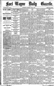 Sample Fort Wayne Daily Gazette front page
