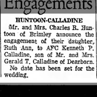 Kenny and Ruth Calladine engagement ann. -