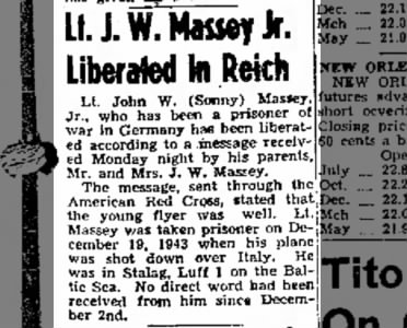 Lt J W Massey Jr Liberated in Reich