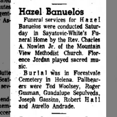 27 feb 1966 - Hazel Banuelos Funeral services for Hazel...
