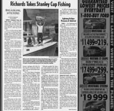Brad Richards of Tampa Bay Lightning takes the Stanley Cup on his fishing boat following 2004 win