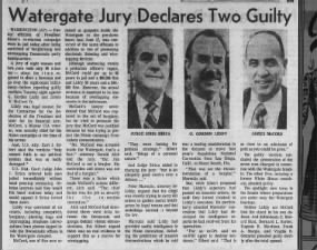 G. Gordon Liddy and James McCord are convicted of burglarizing and wiretapping in Watergate case