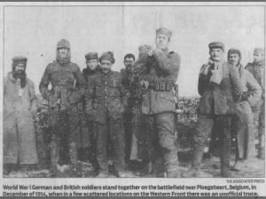 World War I German and British soldiers stand together during the 1914 Christmas Truce