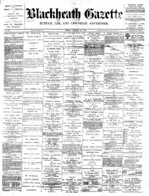 Blackheath Gazette from London, Greater London, England on January 15, 1892 · Page 1