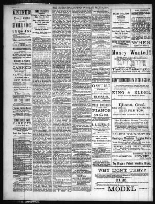 The Indianapolis News from Indianapolis, Indiana on July 15, 1884 ...