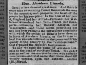 Illinois newspaper's support of Abraham Lincoln for U.S. Senate