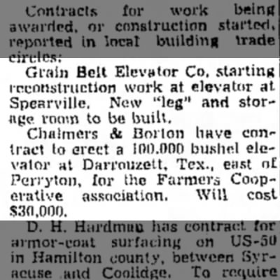 Grain Belt Elevator Co, Spearville, C&B - Grain Belt Elevator Co. starting reconstruction...