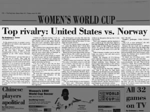 Top rivalry of the 1999 FIFA Women's World Cup: United States vs. Norway