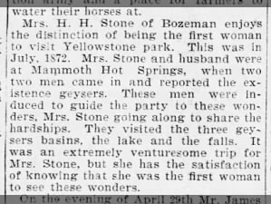 Article identifies Mrs. H. H. Stone as alleged first woman to visit Yellowstone Park