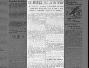 Article calls for fire safety and prevention after the events of the 1911 Triangle Shirtwaist fire