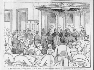 Artist rendition of the trial scene for eight men charged with murder following the Haymarket Riot