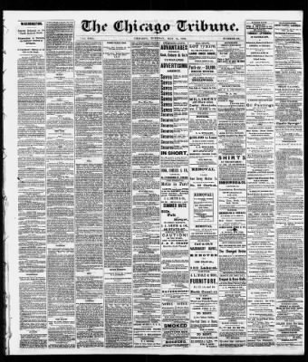 chicago tribune from chicago illinois on may 11 1869 1 rh chicagotribune newspapers com