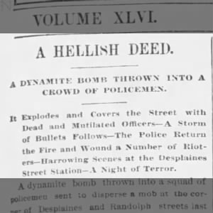 Headline about the Haymarket Riot