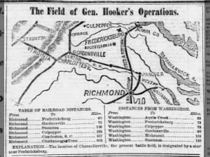Map of General Joseph Hooker's field of operations around the Battle of Chancellorsville