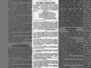 Notices to people made homeless by the 1871 fire about where to find help and services