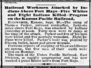 Transcontinental Railroad workers attacked by Native Americans in Kansas, 1867