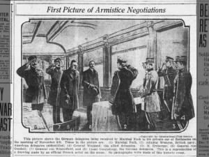 German delegates being received by Ferdinand Foch in his train car