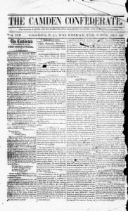 Sample The Camden Confederate front page