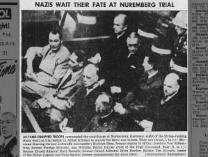 Photo of 8 Nazi leaders, including Hermann Goering and Rudolf Hess, at the Nuremberg Trials