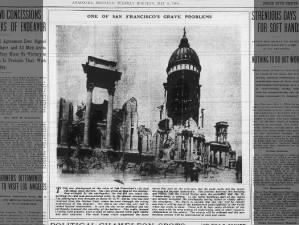 San Francisco city hall escaped flames but still destroyed by the earthquake, 1906