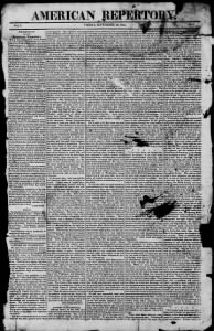 Sample American Repertory and Advertiser front page