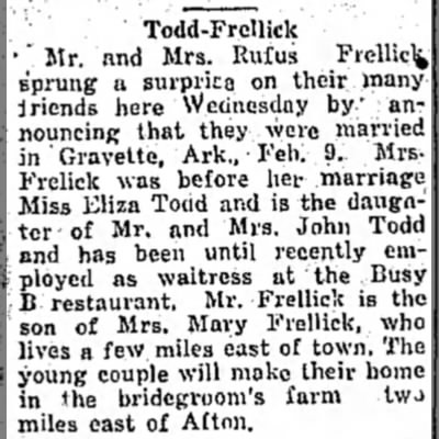 "Todd-Frellick marriage - Todd-Frcllick •""Mr. and Mrs. Rufus Frelliclfc..."