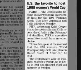 United States the favorite to host 1999 FIFA Women's World Cup