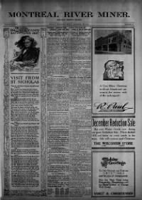 Sample Montreal River Miner and Iron County Republican front page