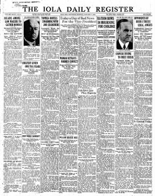 Iola Daily Register And Evening News from Iola, Kansas on January 7, 1933 · Page 1