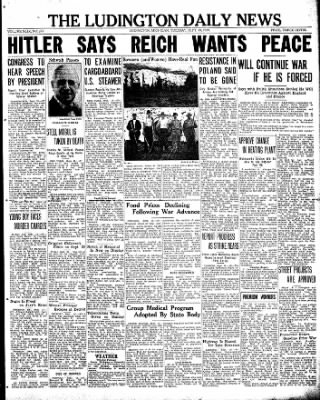 The Ludington Daily News from Ludington, Michigan on September 19, 1939 · Page 1