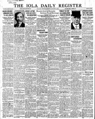 Iola Daily Register And Evening News from Iola, Kansas on January 12, 1933 · Page 1