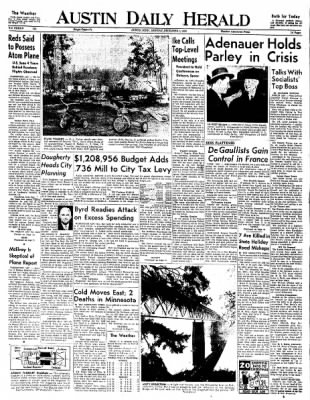 The Austin Daily Herald from Austin, Minnesota on December 1, 1958 · Page 1